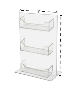 3 Pocket Business Card Holder Display Stand With Sign Holder Qty 12