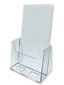 100 Clear Acrylic Free Standing 4 Wide Brochure Flyer Tri Fold Display Stand
