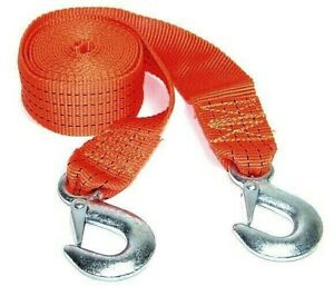 4 12ft Tow Rope Strap Heavy Duty Towing 6000lb Towing Strap With 2 Hooks