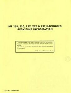 Massey Ferguson Mf 185 210 212 222 232 Backhoe Service Manual Hoe