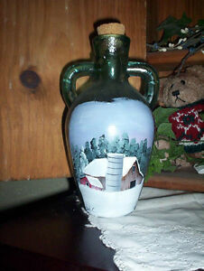Vintage Bottle With Hand Painted Winter Barn Scene 1009201823