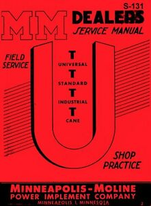 Minneapolis Moline U Ut Universal Cane Service Manual