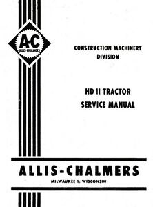 Allis Chalmers Hd11 Hd 11 Crawler Service Shop Manual