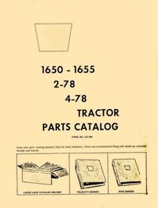 Oliver 1650 1655 2 78 4 78 Tractor Parts Catalog Manual