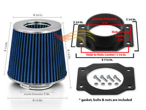 Air Intake Adapter Blue Dry Filter Kit For Nissan 99 04 Frontier Xterra 3 3l