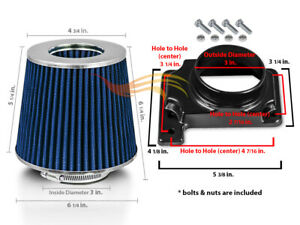 Blue Cone Dry Filter Air Intake Maf Adapter Kit For 97 01 Mitsu Mirage 1 8l