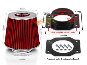 Air Intake Adapter Red Dry Cone Filter For Nissan 95 99 Sentra 200sx 1 6l