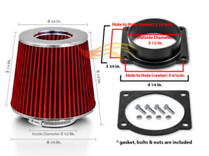 Red Cone Dry Filter Air Intake Maf Adapter Kit For 94 04 Mustang Base 3 8l