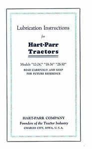 Hart Parr 12 24 18 36 28 50 Tractor Lube Service Manual