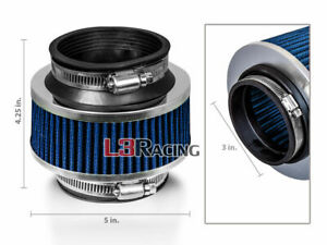 3 Inch 76mm Universal Cold Air Intake Bypass Valve Blue Filter For Cadillac
