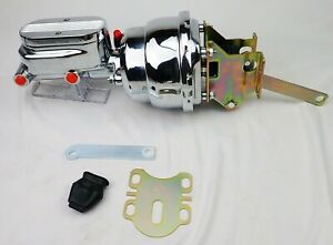 1957 1958 Ford Chrome Power Brake Booster And Master Cylinder 7 Dual Diaphragm