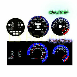 Black Face Reverse Indiglo Glow Gauge Mph Kit For 92 95 Honda Civic Lx Ex Si Mt