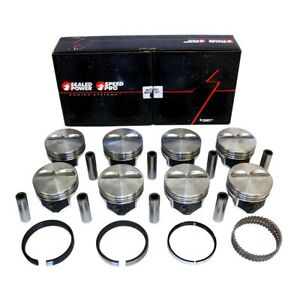 Chevy 383 Flat Top Pistons Moly Rings Kit 040 Sbc 385