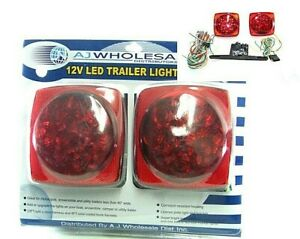 12v Led Trailer Tail Light Kit Brake Turn Signal Utility Rv s Boat Standar