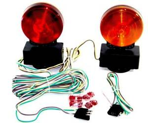 Magnetic Tow Light Kit 3 In 1 Towing Trailer Truck Tail Break Signal Lights 12v