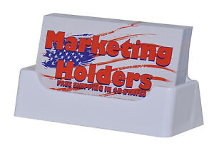 Qty 250 Business Card Holder White Plastic Display Stand Desk Top Made In Usa
