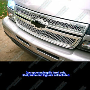 Fits 2006 Chevy Silverado 1500 05 06 2500 3500 Main Stainless Chrome Mesh Grille