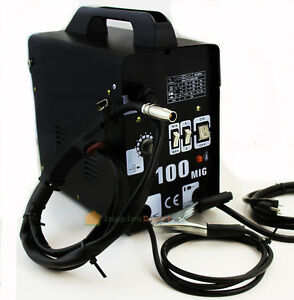 Mig 100 Flux Core Welding Machine No Gas Welder Face Mask 110v Cooling Fan