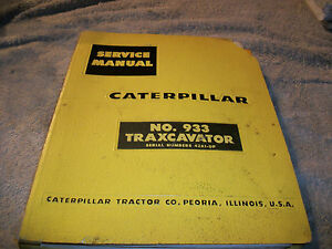 Original Caterpillar 933 Traxcavator Service Manual S n 42a1 Up