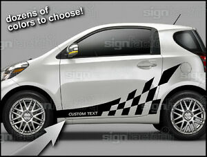2012 And Up Scion Iq Custom Vinyl Decal Graphics Checkered Side Stripes 1