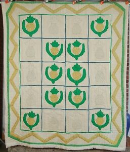 Vintage Hand Stitched Pineapple Applique Antique Quilt Beautiful Quilting