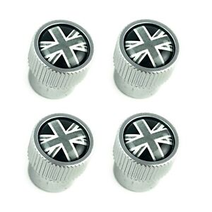Land Rover Silver Black Union Jack Tire Wheel Valve Stem Caps Genuine Lr027666