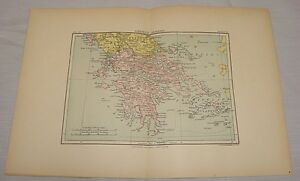 1891 Antique Map Greece Modern Hand Colored