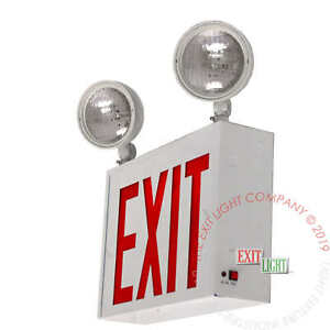 Red Led Exit Sign emergency Light Nyc Steel Combo Ul