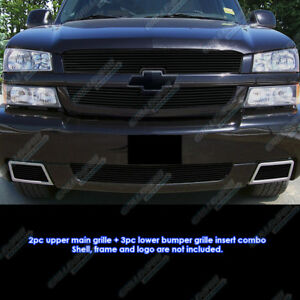 Fits 2003 2005 Chevy Silverado 1500 Ss Black Billet Grille Grill Combo Insert