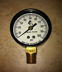 100 Psi Water Pressure Gauge 2 Dial Brass 1 4 Male Npt Well Pump Or Air Guage