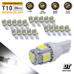 20x T10 921 5050 Chip Led License Plate Interior Smd Light Bulbs 6000k White