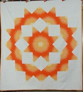 Vibrant 30 S Vintage Broken Star Sunburst Hand Stitched Antique Quilt Colorful