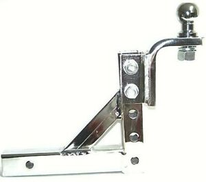 Chrome 10 Adjustable Trailer Drop Hitch Mount For 2 Receiver 2 Hitch Ball