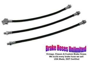 Brake Hose Set Ford Mustang 1965 1966 Front Disc With Single Exhaust