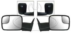 New Black Manual Glass Flip Up Towing Mirrors Pair For 1994 01 Dodge Ram Truck