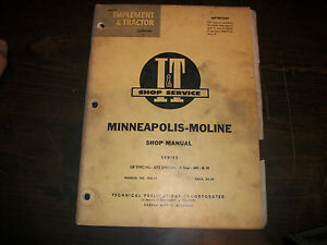 Minneapolis Moline Ub Uts Special 5 Star Ms Tractor I T Shop Service Manual