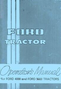 Ford 4000 And 5000 Tractor Owners Operator Manual Fd