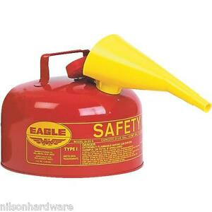 Type 1 Red Metal Steel Saftey Gas Fuel Can Container 2 Gallon W Funnel Ui 20 fs