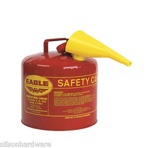 Type 1 Red Metal Saftey Gas Fuel Can Container 5 Gal W Spout Eagle Ui 50 fs