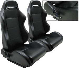 2 Black Pvc Leather Racing Seats 1964 2015 All Ford Mustang