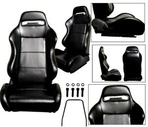 New 2 Black Yellow Stitch Racing Seats 1964 2011 All Ford Mustang Cobra