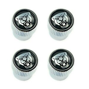 Jaguar Black Silver Growler Logo Tire Wheel Valve Stem Caps Set Of 4 Genuine