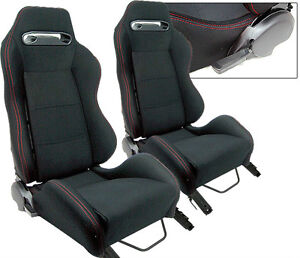 New 2 Black Cloth Red Stitching Racing Seats Reclinable Ford Mustang Cobra