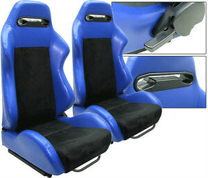 2 Blue Leather Black Suede Racing Seats Reclinable All Scion