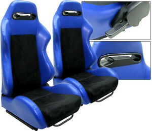 New 2 Blue Black Leather Racing Seats Reclinable W Slider Fit For Nissan
