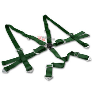3 Strap 6 Point Camlock Harness Bar Adjustable Green Racing Seat Belt Hardware