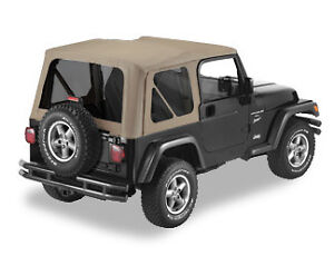 Jeep Wrangler Tj Dark Tan Replacement Soft Top W Tinted Windows