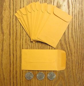 50 Small Kraft Coin Envelopes With Gummed Flap Change 3 Size 2 5 By 4 25
