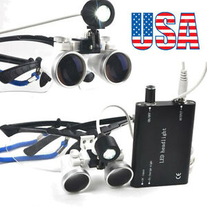 Dental Loupes 3 5x420mm Surgical Medical Binocular With Led Head Light Lamp Usa