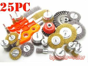 25pc Wire Brush Assorted Kit Wheel Set Crimp Cup Large Wire Brush Cleaner Kit